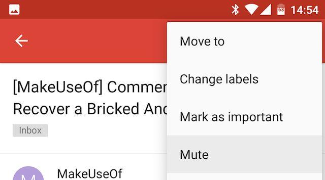 Conversaciones Android Gmail Mute