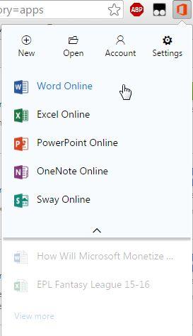 Oficina de Extensión de Chrome Online