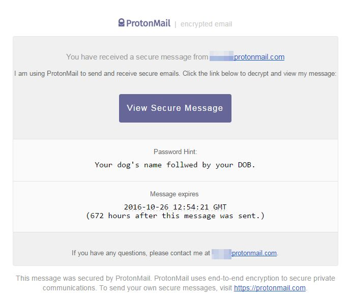 Protonmail cifrado Mensaje enviado