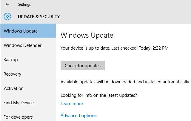 Actualización de Windows 10 Caída