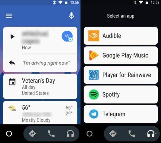 Android Auto Menús