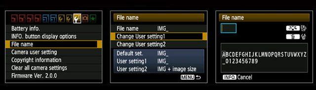 Ajustes DSLR - Nombre de archivo