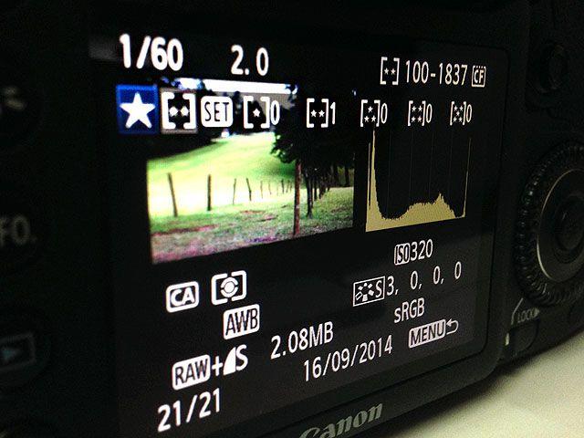 DSLR en la cámara Valoración de la imagen
