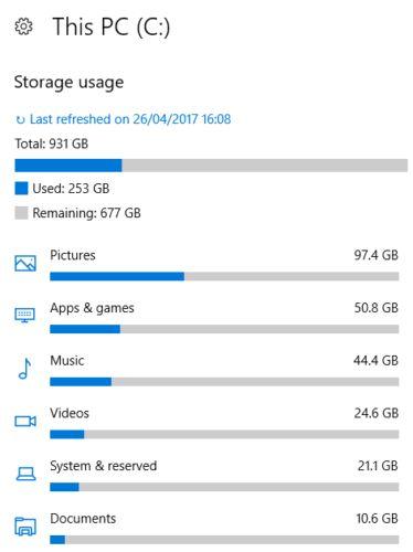 Windows 10 utiliza el almacenamiento