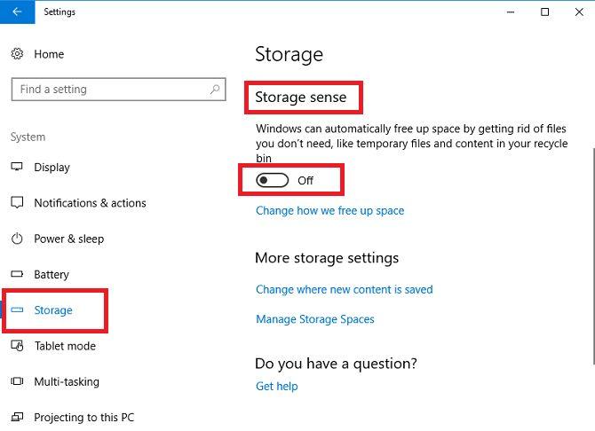 espacios de Windows 10 configuración de almacenamiento del sistema