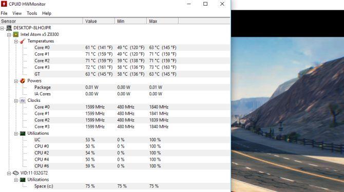Azulle Byte Plus Mini PC - HWMonitor