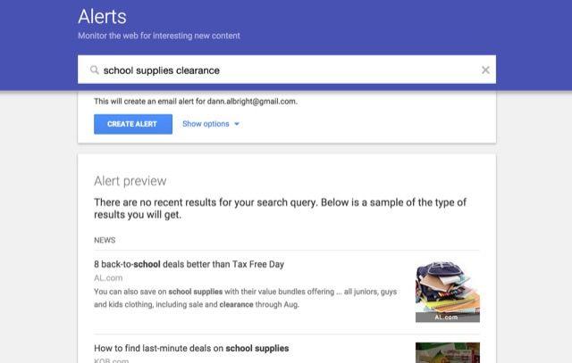 Google-alerta de la escuela suministros