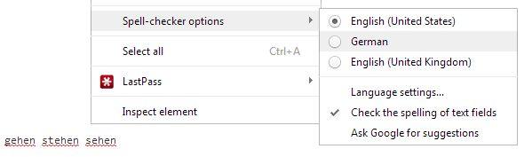 Revisar la ortografía de texto Campo En Chrome