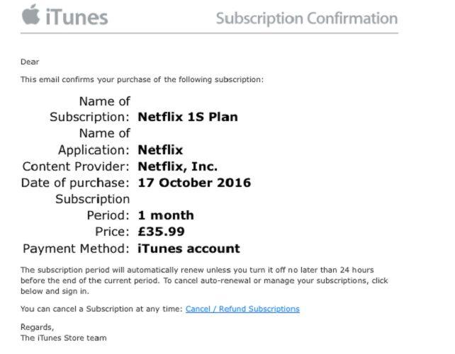 iTunes Netflix fraude por correo electrónico