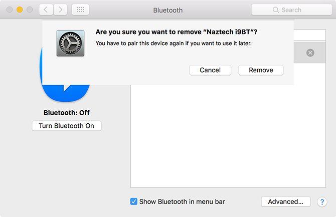 extraer el dispositivo Bluetooth