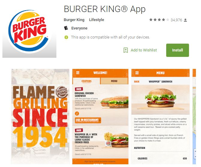 Burger King androide