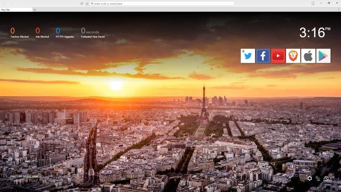 valiente página principal del navegador