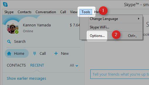 seleccionar herramientas y opciones en Skype