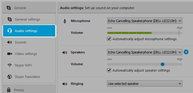 ventana de audio de Skype