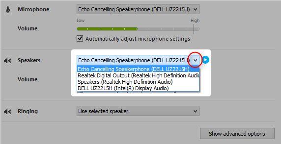 Skype audio y altavoces