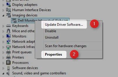 propiedades de dispositivos de imágenes menú Administrador de dispositivos