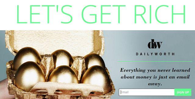 DailyWorth Boletín de Inscripción de pantalla