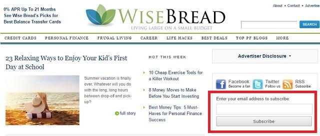 WiseBread Finanzas Sitio Web Captura de pantalla