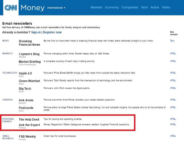 CNN Finanzas Personales Boletines