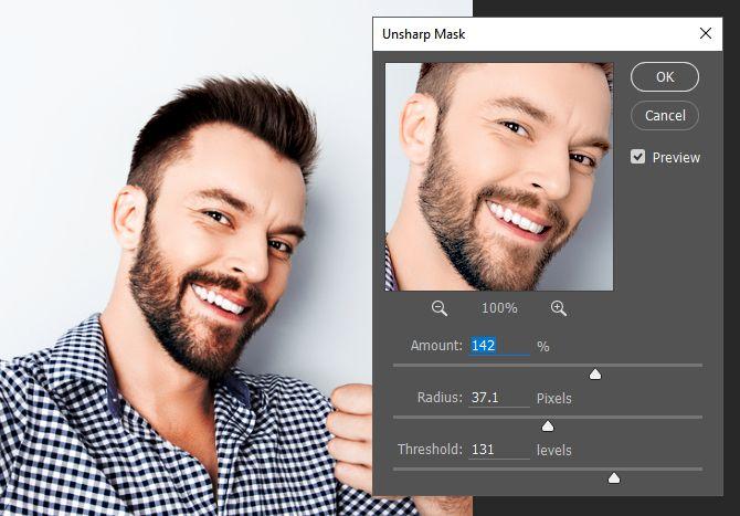 Photoshop Parámetros Máscara de enfoque