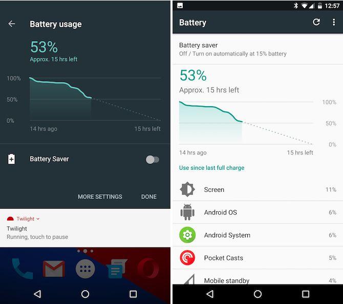 Android indicador de batería Turrón y pantalla