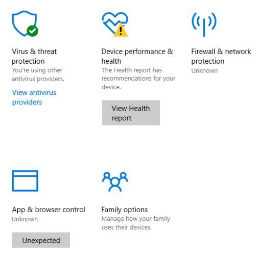 centro de acción de seguridad de Windows 10