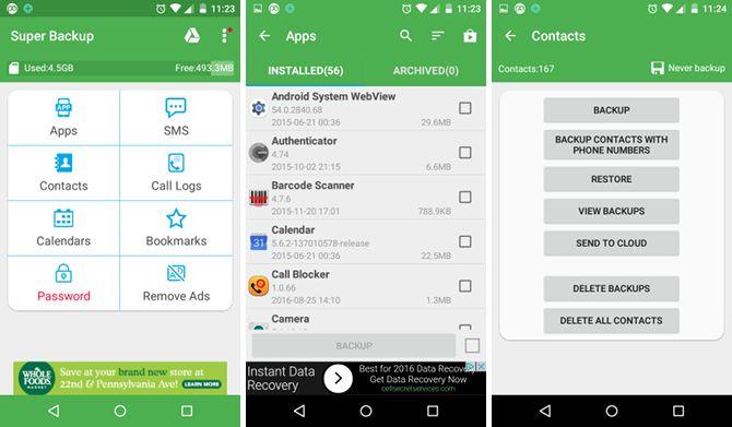 android-copia de seguridad de la aplicación super