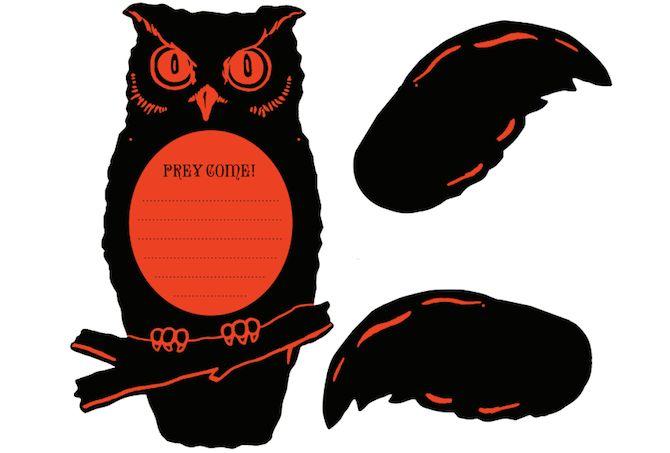 Imprimibles de Halloween - búho invitaciones