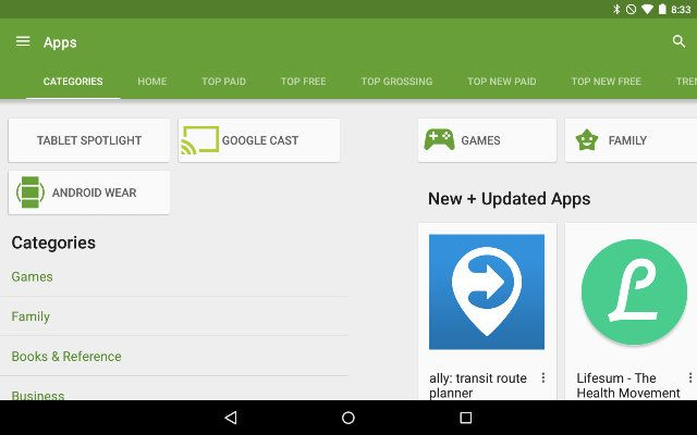 AndroidGooglePlay-Categorías