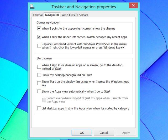 la barra de tareas de navegación y ventanas de propiedades 8.1
