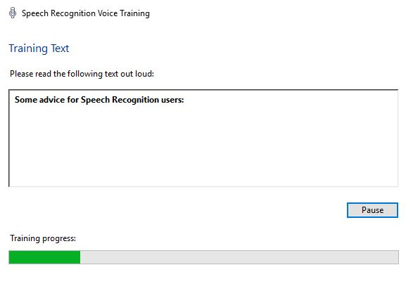 ventanas de entrenamiento de reconocimiento de voz 10