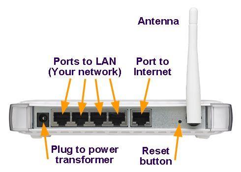 Desde la página de soporte de Netgear, que muestra los puertos en la parte posterior de un router típico
