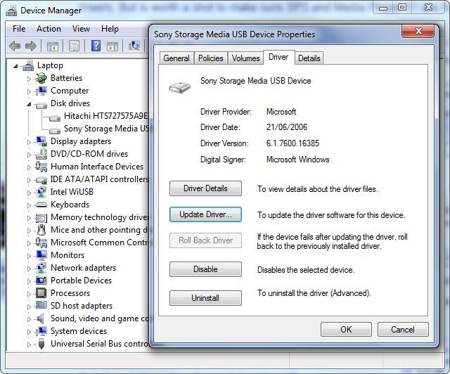 dispositivo USB-propiedades