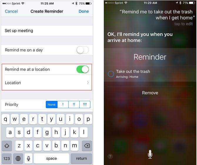 Siri de Apple Recordatorios