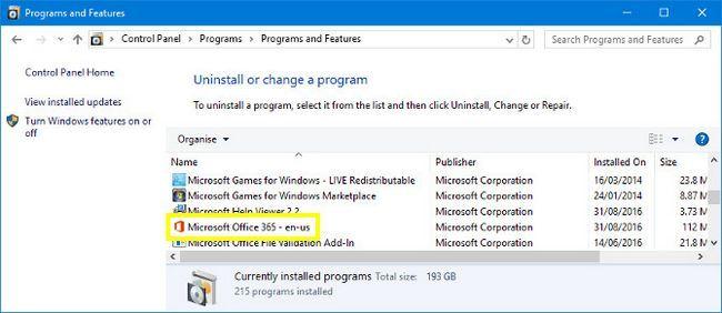 Programas y características en Windows 10