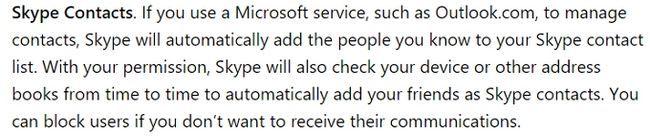 Skype política de privacidad contactos
