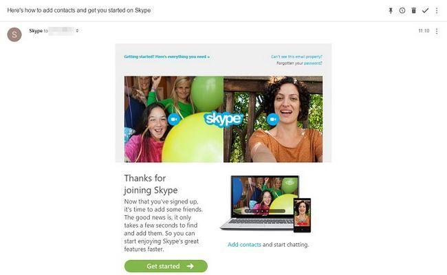 la creación de cuentas de Skype