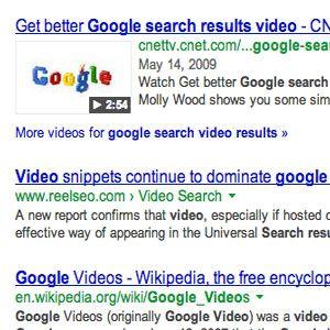 Hacerse rico previas de video fragmento en los resultados de búsqueda
