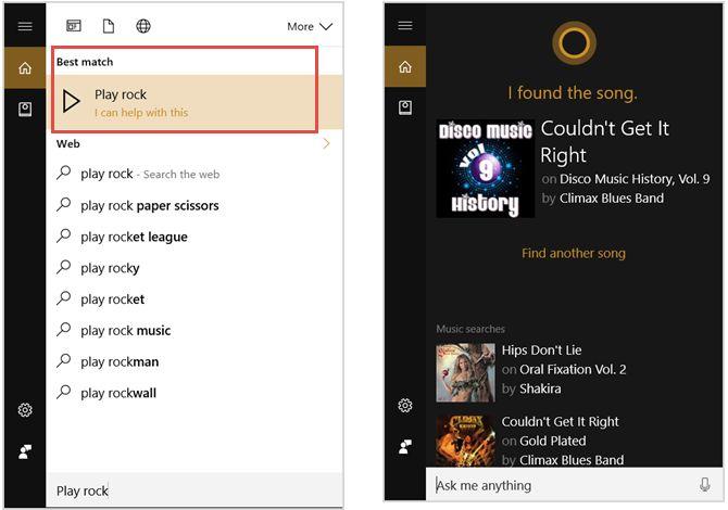 Cortana Música Comandos