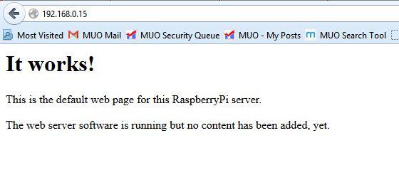 Muo-Raspberry Pi-servidor web-hola