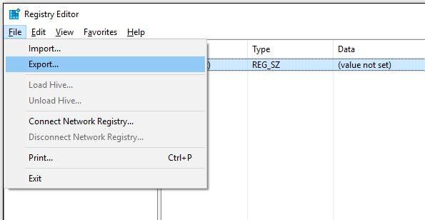 clave de registro de copia de seguridad