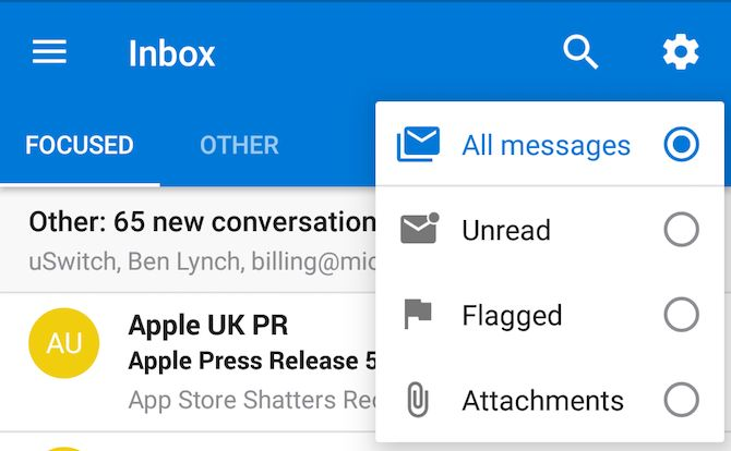 Outlook-filtros