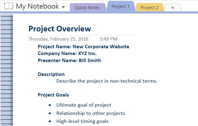OneNoteProjectOverview
