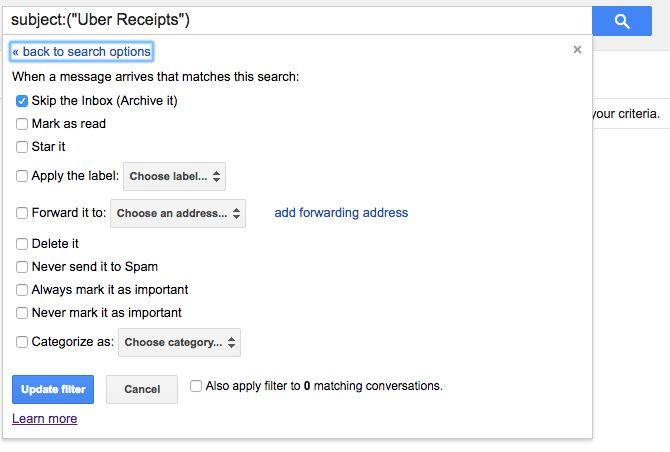Archivo de Gmail Crear filtro saltar la bandeja de entrada