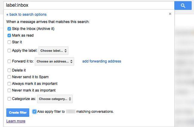 Gmail archivar todos los filtros de correo electrónico antigua