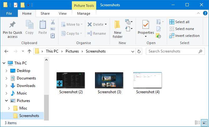 carpeta de capturas de pantalla