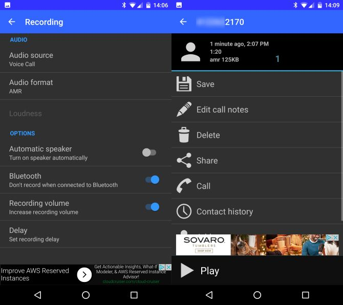 android-automática de llamada grabadora