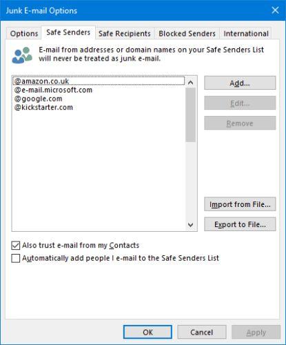 Los contactos de Outlook de remitentes seguros