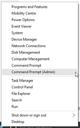 Opción de inicio de Windows 10