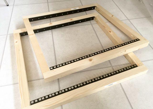 bricolaje construcción estante caso -5 - frontal y posterior de encuadre hecho